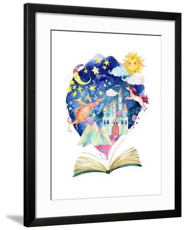Watercolor Open Book with Magic Cloud