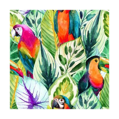Watercolor Parrot Pattern on Tropical Leaves