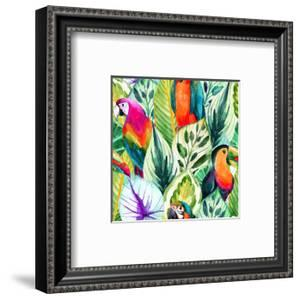 Watercolor Parrot Pattern on Tropical Leaves by tanycya