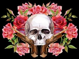Watercolor Skull with Guns and Roses by tanycya