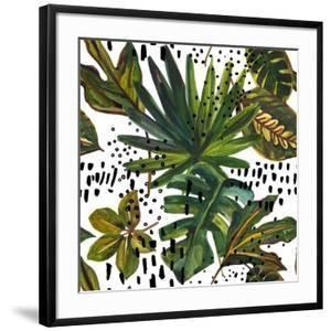 Watercolor Tropical Leaf Pattern - Unusual Leaves on Doodle Background by tanycya