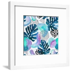 Watercolor Tropical Leaves and Geometric Shapes by tanycya