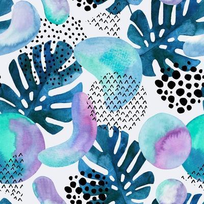 Watercolor Tropical Leaves and Geometric Shapes