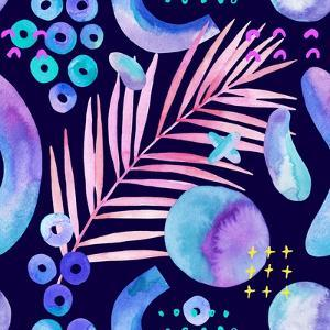 Watercolor Tropical Leaves on Geometric Background by tanycya