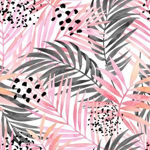 Watercolor Tropical Leaves Seamless Pattern. Watercolour Pink Colored and Graphic Palm Leaf Paintin by tanycya