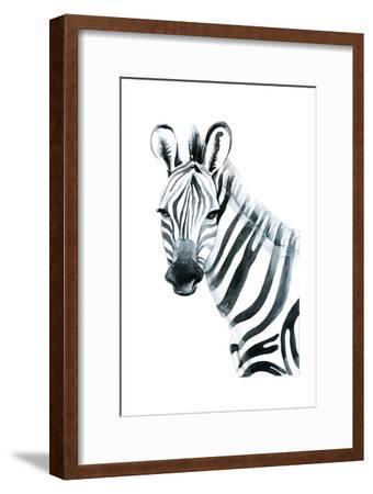 Watercolor Zebra on White Background