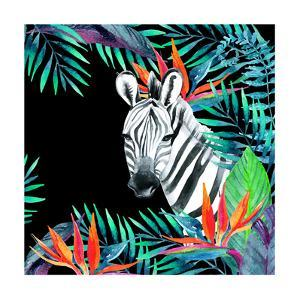 Zebra and Exotic Flowers Watercolor by tanycya