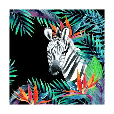 Zebra and Exotic Flowers Watercolor