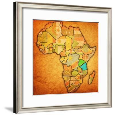 Tanzania on Actual Map of Africa-michal812-Framed Premium Giclee Print