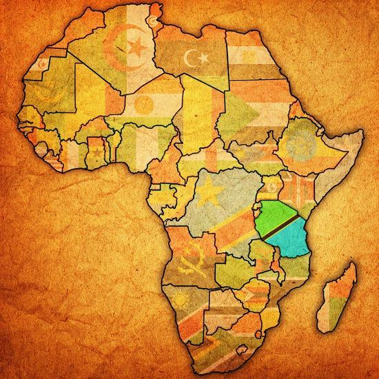 Map Of Africa Tanzania.Tanzania On Actual Map Of Africa Art Print By Michal812 Art Com