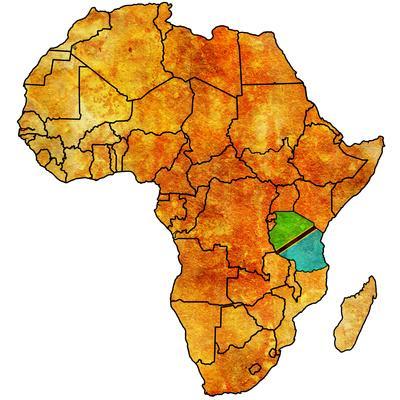 Tanzania on Actual Map of Africa-michal812-Art Print
