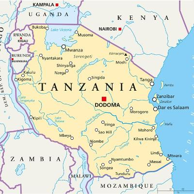 Tanzania Political Map-Peter Hermes Furian-Art Print