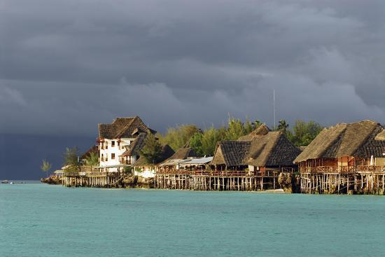 Tanzania, Zanzibar, Nungwi, Tourist Resort on Stilts-Anthony Asael-Photographic Print