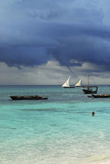 Tanzania, Zanzibar, Nungwi, Traditional Sailing Boat with Storm-Anthony Asael-Photographic Print