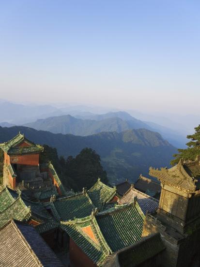 Taoist Temple in Mountain Landscape-Keren Su-Photographic Print