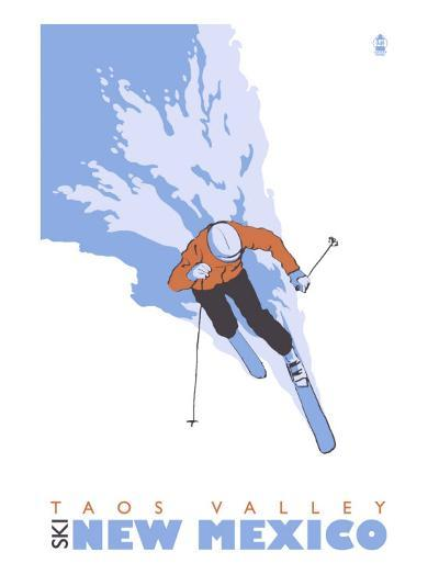 Taos Valley, New Mexico, Stylized Skier-Lantern Press-Art Print