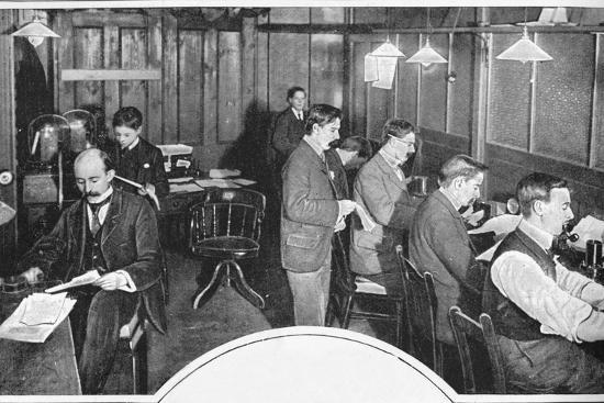 Tape and telegraph room of the Daily Express newspaper, London, c1900 (1903)-Unknown-Photographic Print