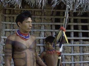 Tapirape Indian Chief and Son, Brazil