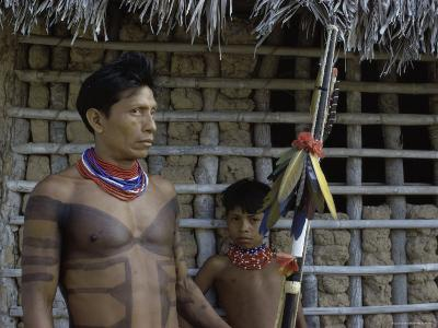 Tapirape Indian Chief and Son, Brazil--Photographic Print