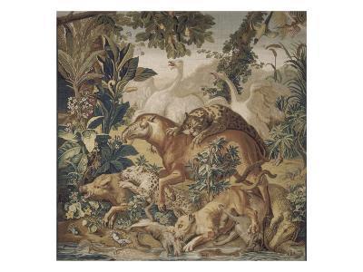 Tapisserie de la Suite des Indes : le Combat d'animaux.--Giclee Print