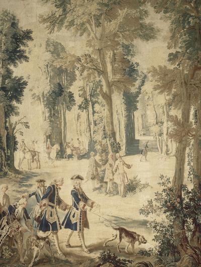 Tapisserie de la tenture : Louis XV tenant le limier-Jean Baptiste Oudry-Giclee Print