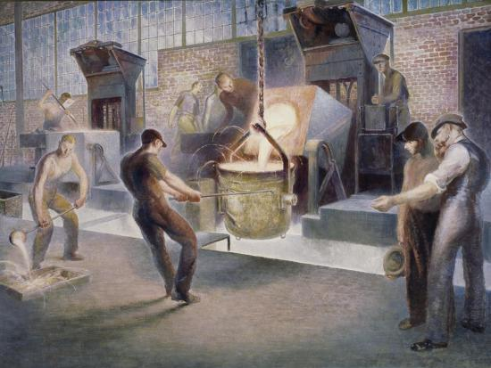 Tapping Induction Furnace-Edmund M^ Ashe-Giclee Print
