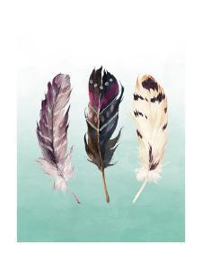 Feathers on Teal by Tara Moss