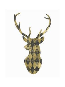 Gold Chalkboard Deer Head on White by Tara Moss