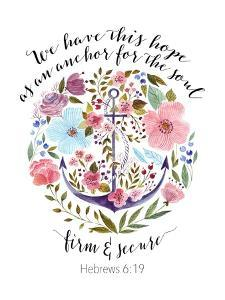 Hebrews 6-19 Floral Anchor by Tara Moss
