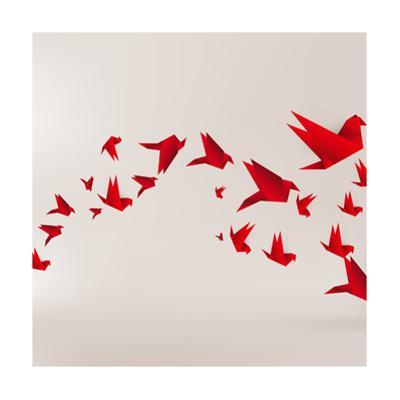 Origami Paper Bird on Abstract Background by Tarchyshnik Andrei