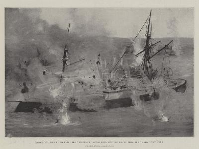 Target Practice Up to Date, the Belleisle after Four Minutes' Firing from the Majestic'S Guns-Fred T. Jane-Giclee Print