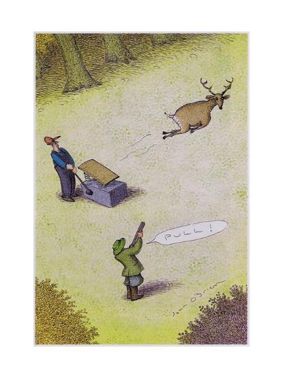 Target practice with a deer - Cartoon-John O'brien-Premium Giclee Print