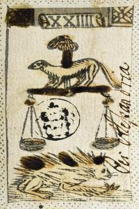 Tarot Card for Libra, 16th Century, Italy