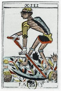 Tarot Card of Death, the Grim Reaper, Noblet Tarot, 17th Century