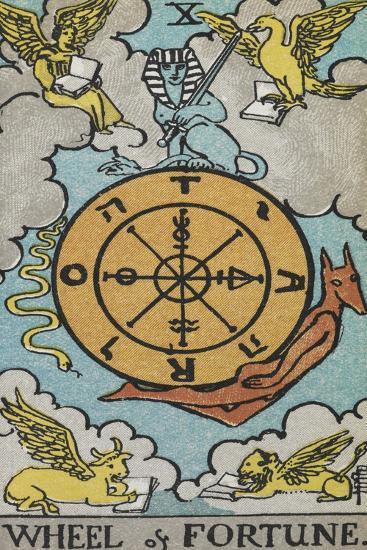 Tarot Card With a Central Wheel in the Clouds-Arthur Edward Waite-Giclee Print