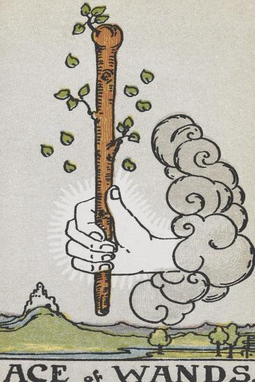 Tarot Card With a White Hand Holding a Large Wand With a Cloud Of Smoke-Arthur Edward Waite-Giclee Print