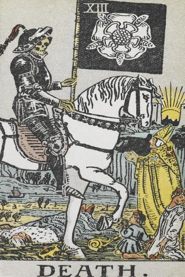 Tarot Card With Death Wearing Armor-Arthur Edward Waite-Giclee Print