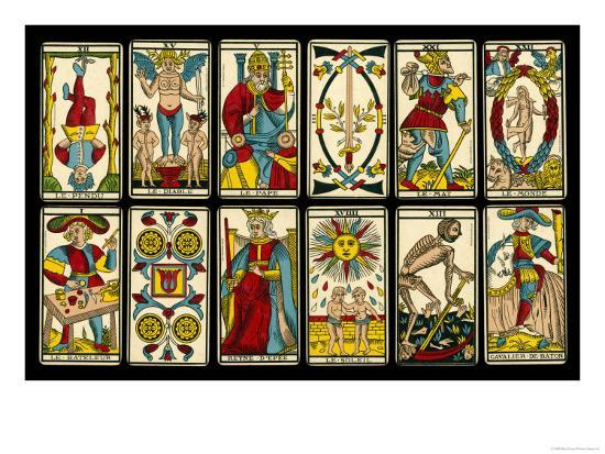 Tarot Selection from the Traditional Marseille Pack--Giclee Print