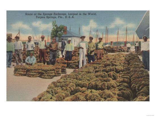 Tarpon Springs, FL - Scene of Sponge Exchange-Lantern Press-Art Print