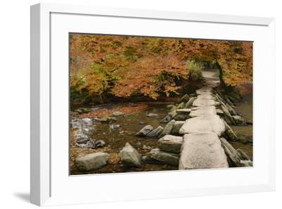 Tarr Steps, a clapper bridge crossing the River Barle on Exmoor, Somerset, England, United Kingdom,-Stephen Spraggon-Framed Photographic Print