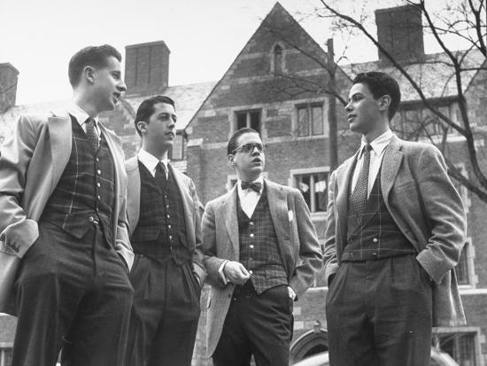 Tartan Vests Worn with Sports Jackets are Favored by These Yale Undergraduates--Photographic Print