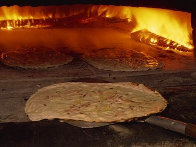 Tarte Flambee Going into the Oven, in France, Europe-Miller John-Photographic Print