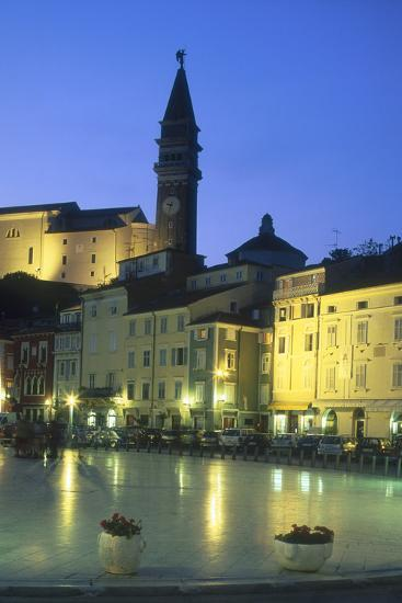 Tartinijev Square in Piran at Night-Jon Hicks-Photographic Print