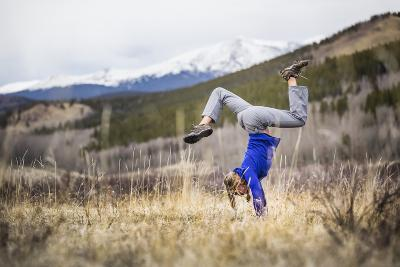 Taryn Pearce Holds A Handstand Yoga Pose Near Kenosha Pass - Colorado-Dan Holz-Photographic Print