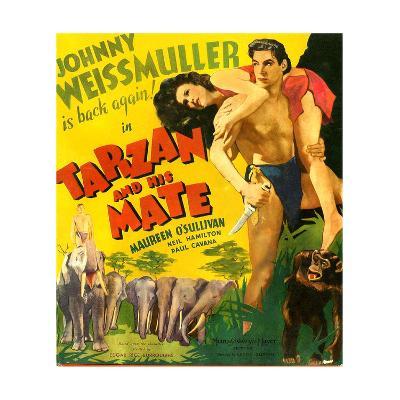 TARZAN AND HIS MATE, from left: Maureen O'Sullivan, Johnny Weissmuller, 1934.--Art Print
