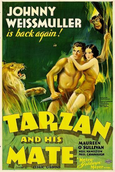 TARZAN AND HIS MATE, Johnny Weissmuller, Maureen O'Sullivan, 1934--Art Print