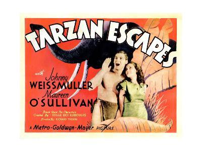 Tarzan Escapes, from Left: Johnny Weissmuller, Maureen O'Sullivan, 1936--Giclee Print