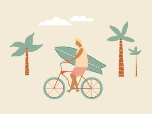 Bicycle Rider with Surfboard on the Beach by Tasiania