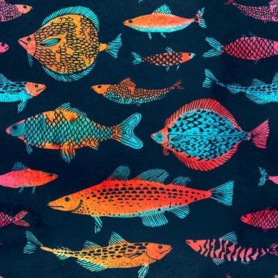 Fish on a Deep Blue Background - Watercolor