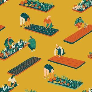 Gardening and Farming Seamless Pattern by Tasiania